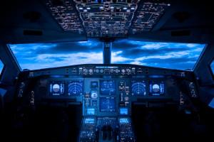 Cool blue airliner cockpit